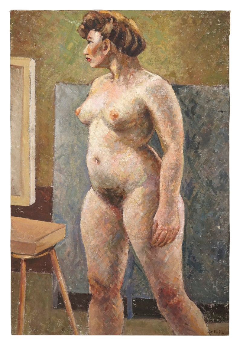 1952 Oil Nude Painting Signed D. V. B. Vintage Art Standing Female Model